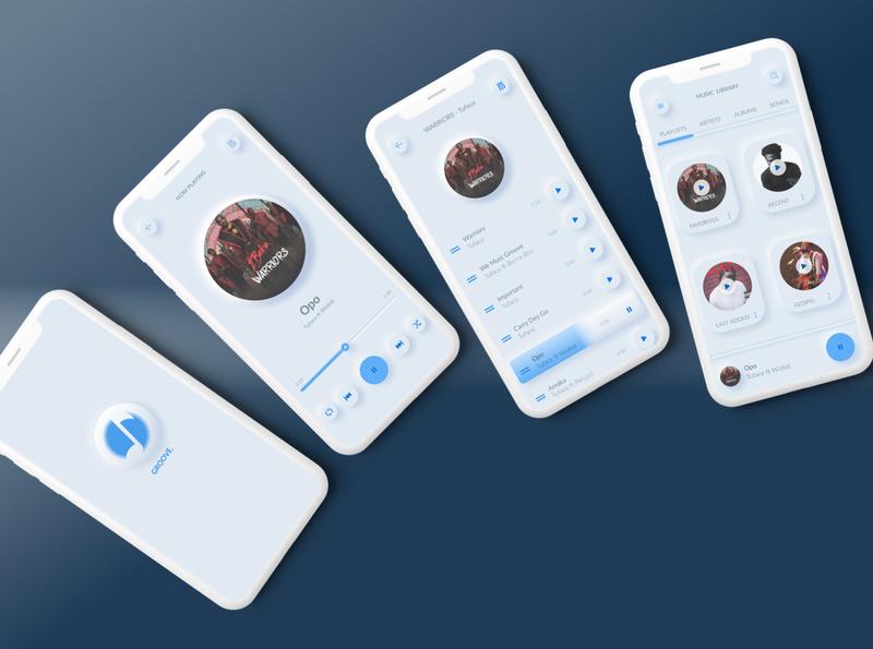 Music player neumorphism neumorphic design app illustration ui design