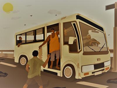 Bus Hustle! illustration vector art adobe illustrator