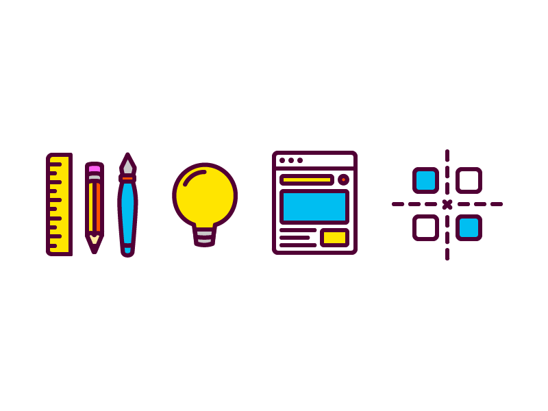 Icons illustration vector thick simple iconography