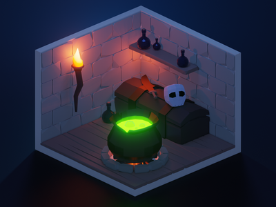 Low Poly Witch's Brew blender3d lowpoly 3d blender