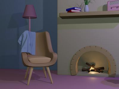 Fireplace (1) design blender3d blender 3d