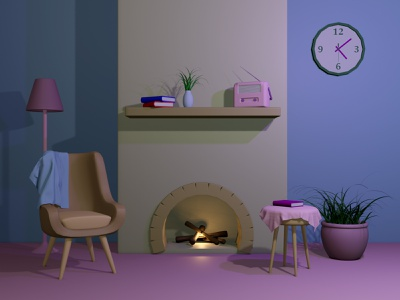 Fireplace Full Scene design blender3d blender 3d