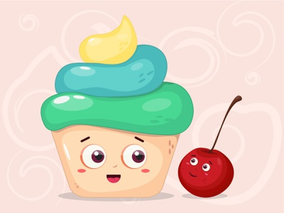 Cute sweeties cute drawing graphicdesign graphic cupcake cake sweets cartoon illustration cartoon character cartoon artist flatdesign adobe artwork illustrator art illustration adobe illustrator vector design