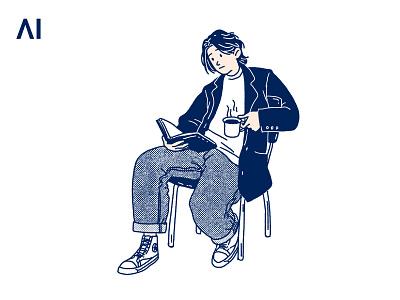 Weekend drawing print illustration