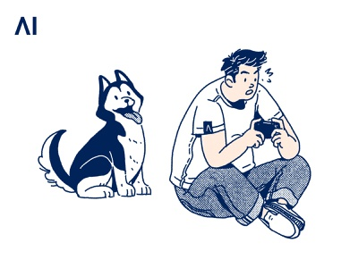 With Dog drawing print illustration