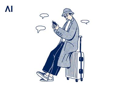 Waiting drawing print illustration