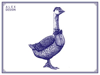 Engraving Goose 01
