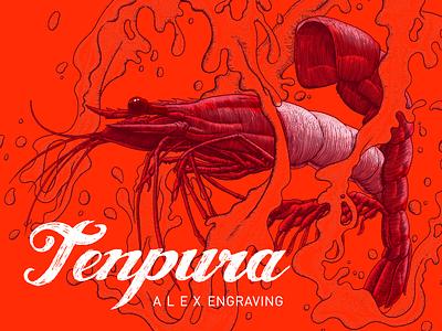 Engraving tenpura Prawn tenpura prawn freehand painting print drawing engraving graphic illustration