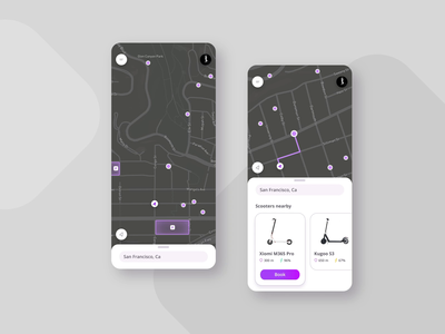 Scooter rental app android maps rental scooter app vector mobile ios dribbble dark ui dark app ux ui design