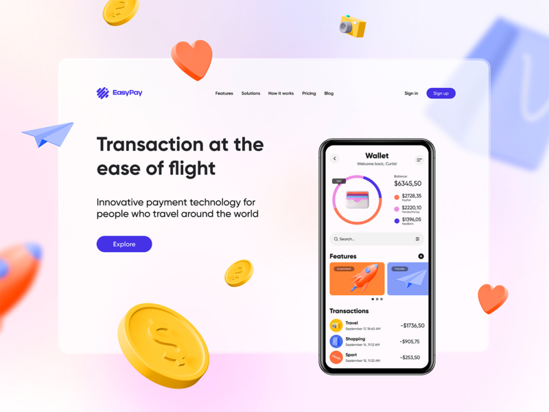Fintech - mobile app and landing page web vector illustration 3d art landing page mobile ios app hello dribbble ux ui