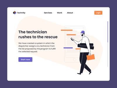 Landing page for Technity landing page animation branding illustration vector dribbble design ux ui