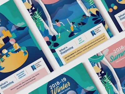 Hamilton Library Program Guide Covers brochure design booklette cover design cover artwork vector illustration
