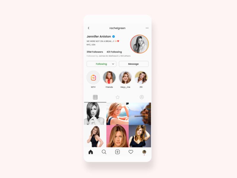 Instagram user profile - Daily UI 6 user profile dailyui instagram app design daily ui mobile design mobile ux business ui design ui minimal ux design ui ux design