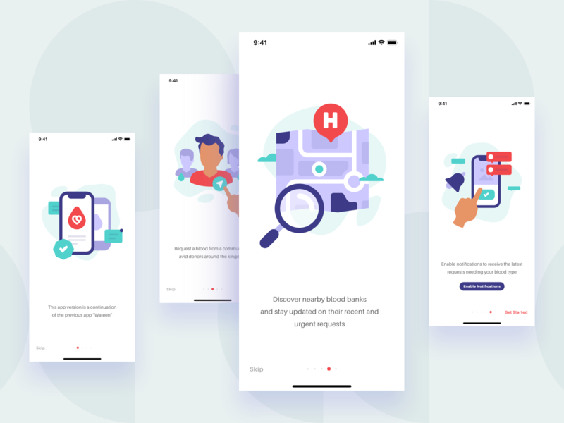 Onboarding Screens app animation mobile enable skip ios ui  ux direction notifications onboarding screens illustration map hospital blood donation ios app design application app design