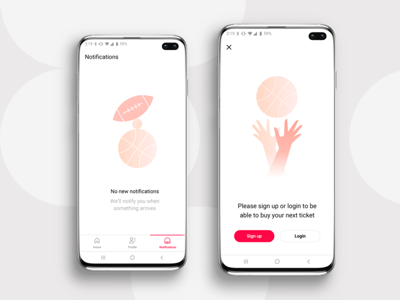 Empty state screens / Mobile app login signup hands sport ball notifications sketch illustration iphone mobile ui ios application app placeholder empty state empty page