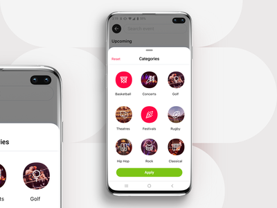 Event App - Search search sports event preferences choices music festivals basketball categories favorites personalization application iphone mobile ui ios app