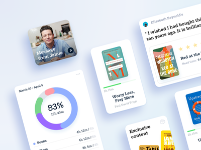 Reading App / UI elements jamie oliver meal cook eshop quote cover library books text duration time application iphone mobile ui ios app reading app article book