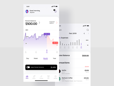Finance App / Dashboard expenses balanced home screen dashboard minimal advance payment balance payment paycheck business finance app money bank rocket deposit iphone application mobile ios app