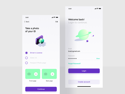 Onboarding screens emial password rocket logo welcome page planet camera onboarding screens forgot password create an account id card signup login rocket illustration minimal iphone mobile ios ui app