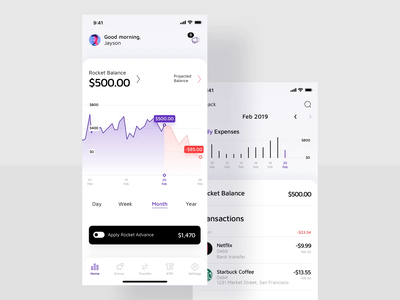 Finance App / Full Dashboard android app toggle graph ui advance minimal design account balance home screen bottom sheet app design application iphone dashboard app ui amount payments money balance transfer money business finance app