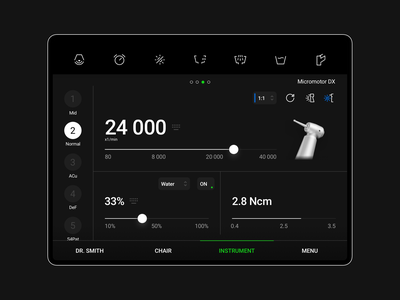 Dark theme - iPad app for dentists to control a chair main screen touch easy to use water bowl negatoscope anatomical easy to use dental chair ios android tablet app instrument intuitive control system medicine medical diplomat dental tooth dental care dentist ipad pro ipad