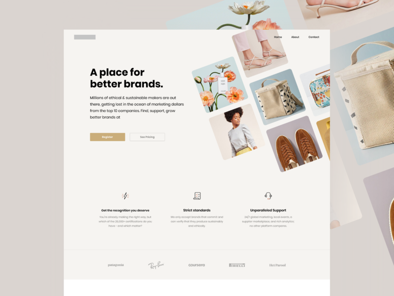 Landing Page pricing companies desktop design brands homepage landing page design register coffee bag shoes cosmetics tshirt ux web website eshop products landing page suistainable