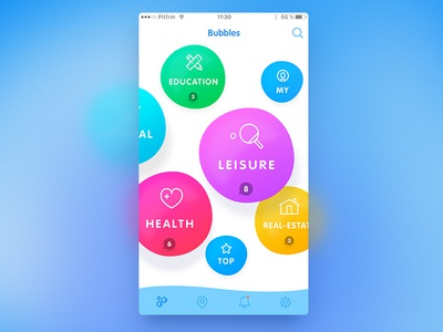 Bubbles concept interface oval feed circles mobile ios app curves admin concept bubbles