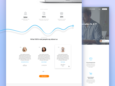 Redesign  homepage flat ui call support navigation cta business client testimonial stats web