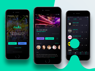 nili iOS app - bars & clubs detail page welcome screen map place splash bars clubs friends listing events application ios