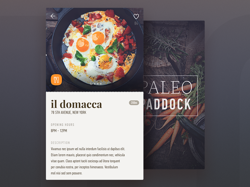 ios application (detail screen) restaurant menu meet listing ios healthy food filter eggs dashboard app