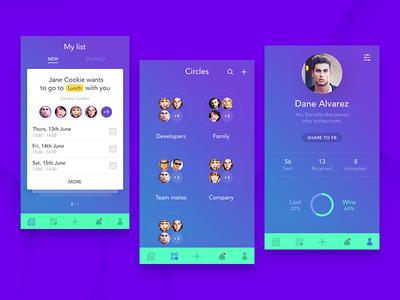Few mobile Screens  my profile london groups list social lunch meet app screens mobile