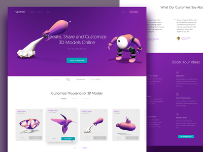 Vectary - Landing page (3d modeling tool) website web startup trial purple free 3d design cards modeling landing page 3d vectary