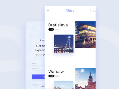 Cities screen exploration, ios app slovakia layout grid ux ui app ios europe bratislava tourist places city