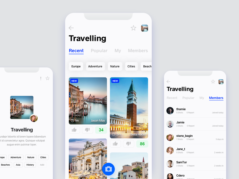Travelling board - iOS app members ux ui pinterest list x iphone interface interest travel board app