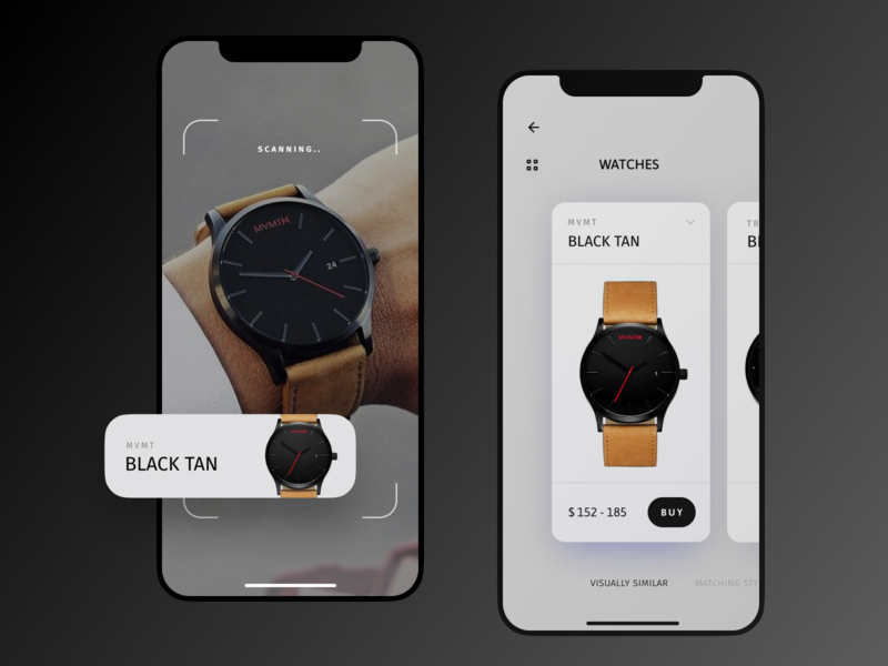 AR - Concept app (watches) figma brand mvmt design mobile iphonex minimal black shopping buy scanning camera concept device watches ios app application artificial intelligence ar