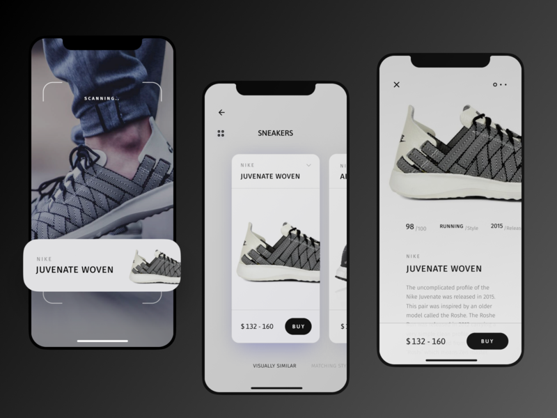 AR - Concept app (sneakers) cards price ecommerce basket buy now ux design ui ios app iphone application mobile adidas nike boots running shoes sneakers vr