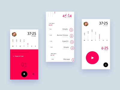 Tracking Tool - Mobile app ux ui dashboard app animation progress stats iphone app mobile red white minimal time record play project task android ios app concept