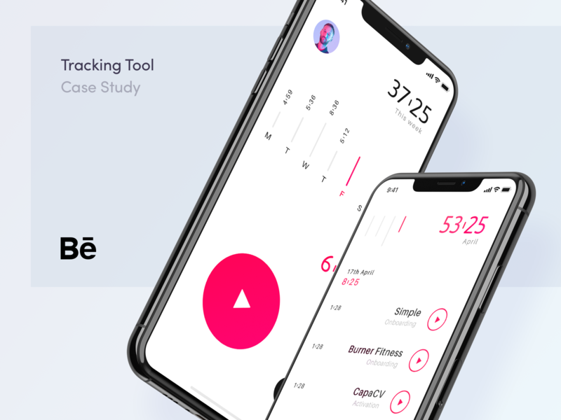 Tracking Tool - Case Study red apple sheet project minimal app user calendar week play record tool mobile app design app iphone x tasks time ui  ux ui design case study