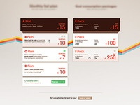 Pricing table - full view
