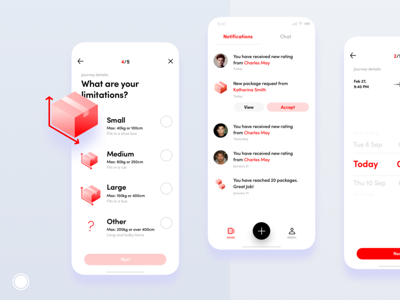 Mobile Screens size small time today chat red minimal limit notifications saudi arabia package delivery illustration design application iphone mobile ios ui app
