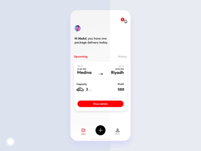 Mobile App - Notifications - Interaction profit delivery car history upcoming product minimal new alert notifications gif animation application time ui iphone ux mobile ios app