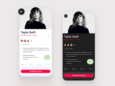 Event app - light and dark mode share sheet ios application app event app location dark theme dark mode pop singer taylor swift ticket ux ui light dark night day