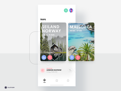 Travel App - Upcoming Trips ios ux application search minimal mallorca norway flight london hiking app mobile iphone uiux ui activity trip travel