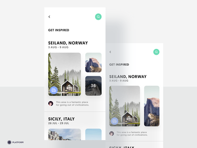 Travel App - Get Inspired minimalist nature price vacation trip travel sport hiking caravan holiday memories photos images norway iphone ux mobile ios ui app