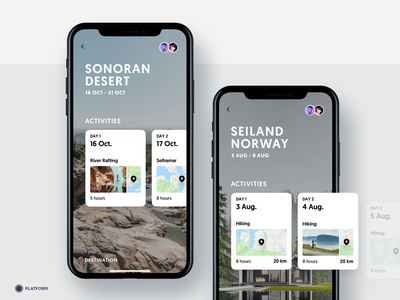 Travel App - Trip Detail iphonex holiday nature travel activity cards ui ux minimal plant planning destination ios iphone mobile app hiking norway trip activities
