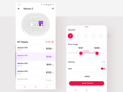 Event App - Find a Ticket concert ui minimal samsung mobile design mobile android ticket app app filter parking quantity price range buy a ticket seatchart seating seat ticket