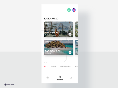 Travel App - Bookmarked asia saved minimal iphone ux mobile app design mobile ui price tag application ui app design traveling places ios travel app destination travel bookmark