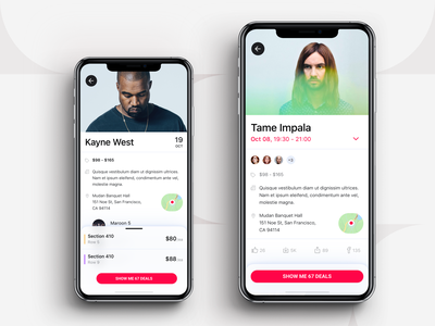 Event App - Actor / Singer iphone application design mobile ui venue tickets events ios mobile app mobile deals price range place on map place people attending avatars october tame impala kanye west singer actor