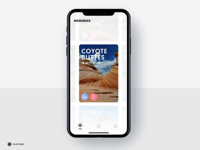 Travel - Memories screen / Animation ui mobile app design application design tripadvisor hiking mallorca photos drag transition cards ui sightseeing beach iphone travel app ios app bali destination travel