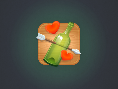Icon for a social game icon love bottle hearts arrow